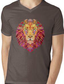 Geometric Lion Mens V-Neck T-Shirt