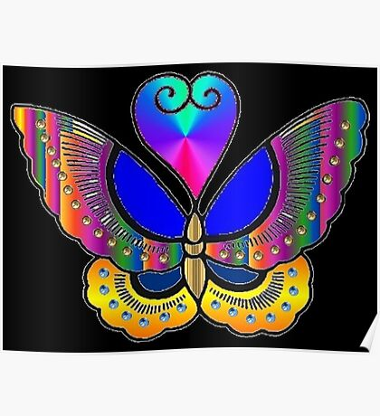 Digital Dilly Dally Butterfly Poster