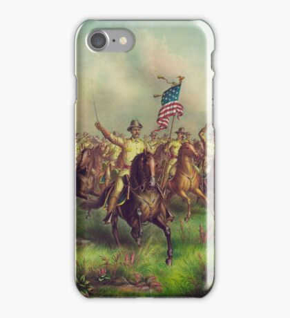 Theodore Roosevelt and the Rough Riders Charging San Juan Hill iPhone Case/Skin