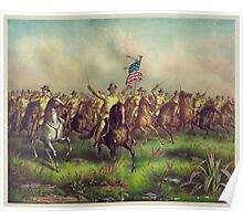 Theodore Roosevelt and the Rough Riders Charging San Juan Hill Poster
