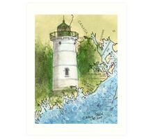 Little River Lighthouse ME Nautical Map Cathy Peek Art Print