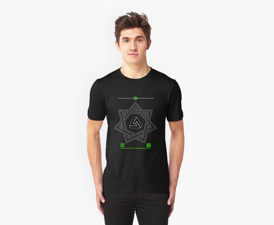 NOV 2012 MERCH 777 IMPOSSIBLE CROP CIRCLE TRIANGLE IN SEVEN POINTED STAR BLACK WITH CEWDI QRCODE by David Avatara