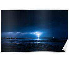 Lightning at Scarborough Poster