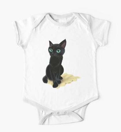 Black little kitty One Piece - Short Sleeve