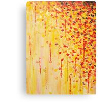 WHEN IT FALLS Bold Autumn Winter Leaves Abstract Acrylic Painting Christmas Red Orange Gold Gift Canvas Print