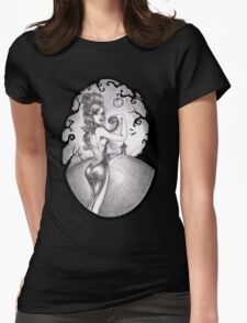 Claire, the cat and the moon Womens Fitted T-Shirt