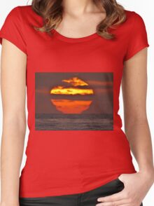 Pacific Ocean Sunset Women's Fitted Scoop T-Shirt