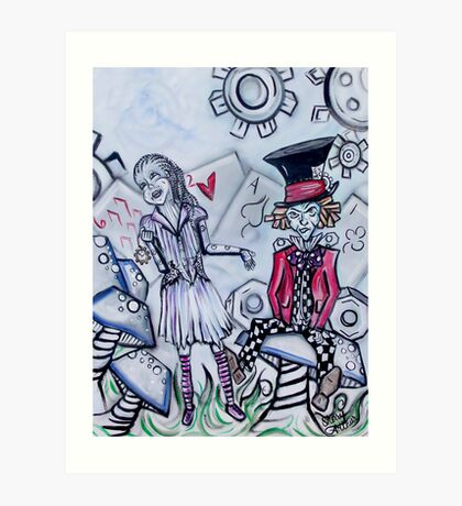 Alice Meets The Mad Clatter --- Alice In Gear Land Series Art Print