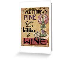 Kitties & Wine Greeting Card