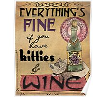 Kitties & Wine Poster