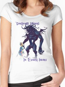 """""""Darkness Lingers in Every Heart"""" Kingdom Hearts Women's Fitted Scoop T-Shirt"""