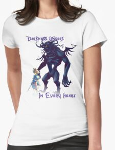 """""""Darkness Lingers in Every Heart"""" Kingdom Hearts Womens Fitted T-Shirt"""