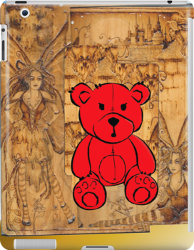 Red Teddy Bear With Wood Fairies by Rod Underhill