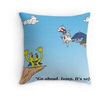 Euroman and Uncle Sam economics cartoon Throw Pillow