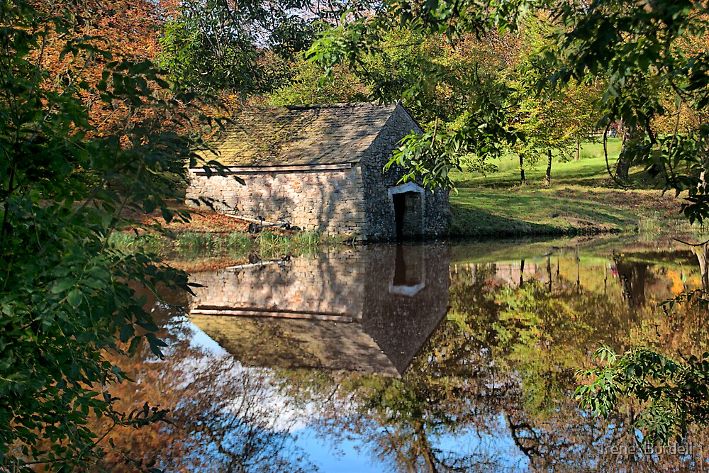 Reflections of the Boat House  by Irene  Burdell