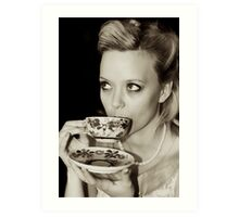 A vintage cup of tea Art Print