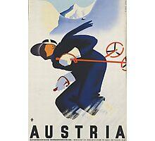 Ski Austria Travel Poster Photographic Print