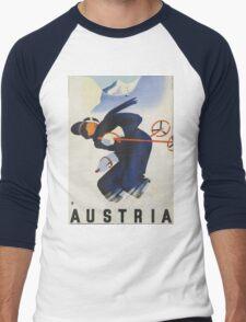 Ski Austria Travel Poster Men's Baseball ¾ T-Shirt