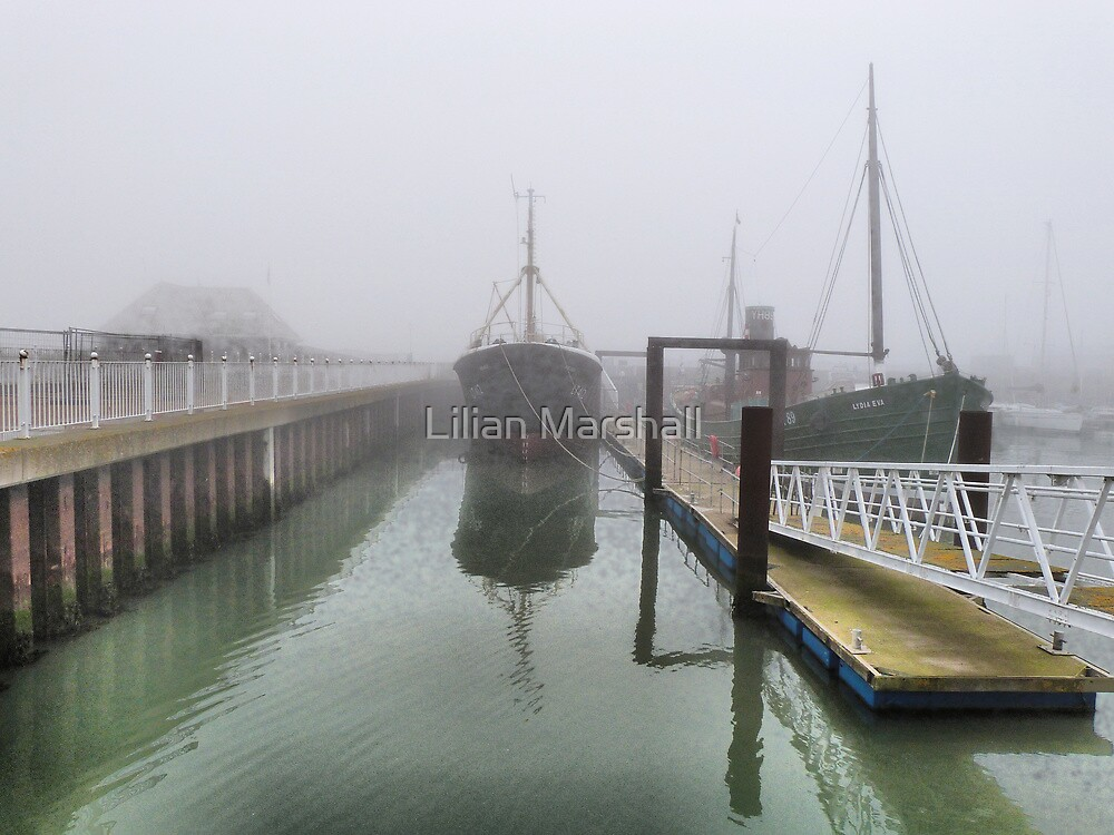 Boats in the Fog. by Lilian Marshall