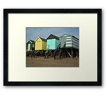 Colourful Beach Huts Framed Print