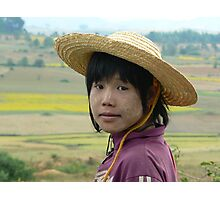 Girl on buffalo, Shan State, Myanmar Photographic Print