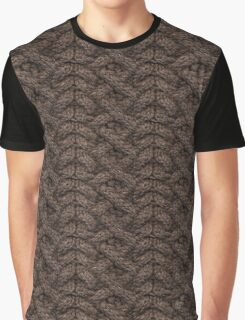 Brown Haka Cable Knit Graphic T-Shirt