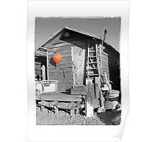 The Orange Buoy-  Fisherman's Hut Suffolk  Poster