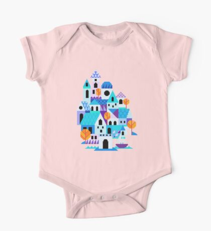 Blue houses - pixel art One Piece - Short Sleeve