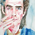 NICK CAVE SMIKING a CIGARETTE watercolor portrait by lautir