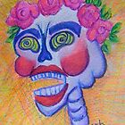 Laughing Calavera with Pink Roses by Candace Byington