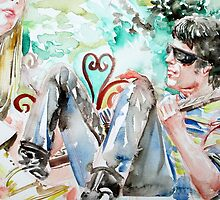 LOU REED and NICO watercolor portrait by lautir