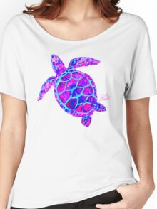 Sea Turtle Pink and Blue Women's Relaxed Fit T-Shirt