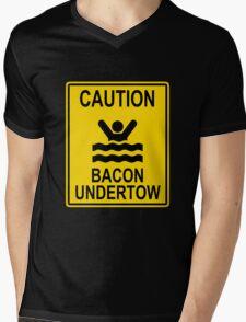 Caution Bacon Undertow Mens V-Neck T-Shirt