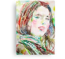 GIRL with SCARF watercolor portrait Canvas Print