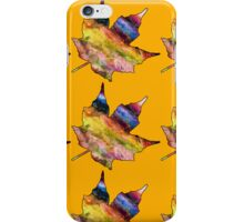 Rainbow Maple Leaves on Fall Orange iPhone Case/Skin