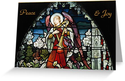 Peace and Joy Stained Glass Christmas Card by Gerda Grice