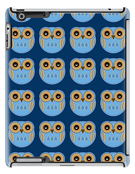 Blue Owls - iPad Case by Louise Parton