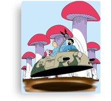Going to visit the rabbit mob Canvas Print