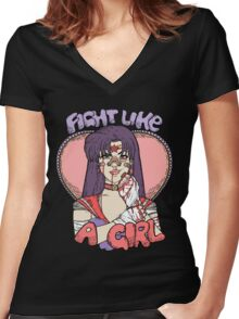 Sailor Moon - Fight Like A Sailor (Sailor Mars) Women's Fitted V-Neck T-Shirt