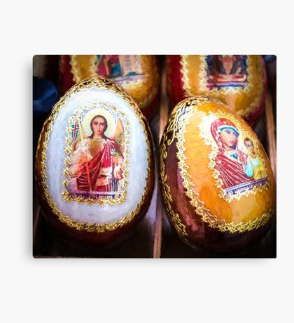 Traditional Russian Wooden Easter Eggs Canvas Print