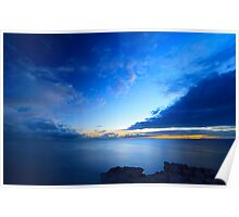 Beatiful blue sky over the sea and sunset Poster