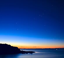 Beautiful sunrise with visible stars by nrasic