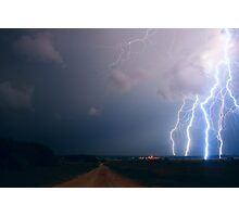 Lightning over the field Photographic Print