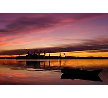 Beautiful sunset over the sea and shipyard Photographic Print