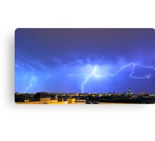 Lightning over the city Canvas Print