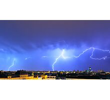 Lightning over the city Photographic Print