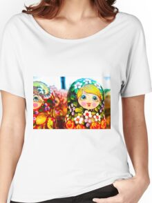 Traditional Russian Matrushka Nesting Puzzle Dolls Women's Relaxed Fit T-Shirt