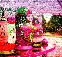 Traditional Russian Matryoshka Nesting Puzzle Dolls Purple by NeonAbstracts