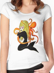 mermaid and octopus  Women's Fitted Scoop T-Shirt