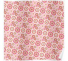 Chic pink red trendy retro stylish floral pattern Poster